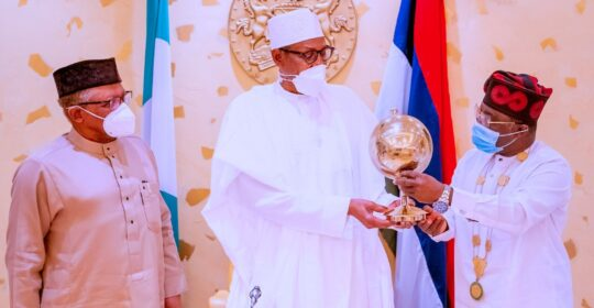 PRESIDENT BUHARI RECEIVES MEMBERS OF THE NMA LED BY PRESIDENT UJAH.